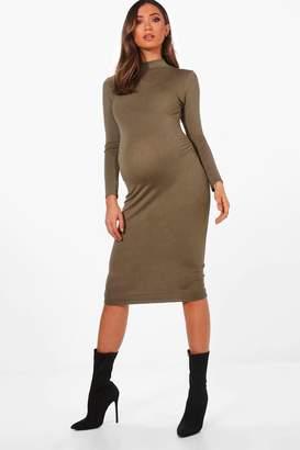 boohoo Maternity High Neck Long Sleeve Bodycon Dress