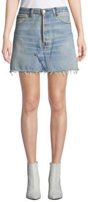 RE/DONE Vintage High-Rise Frayed Denim Mini Skirt