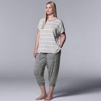 Vera Wang Plus Size Simply Vera Striped Tee & Joggers Pajama Set