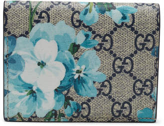 Gucci Card Case Wallet Blooms GG Supreme Blue/Beige/Red