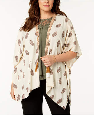Style&Co. Style & Co Plus Size Printed Open-Front Kimono, Created for Macy's