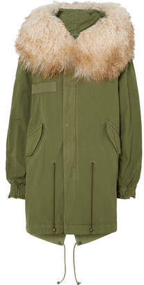 Mr & Mrs Italy Hooded Shearling-trimmed Cotton-canvas Parka - Green
