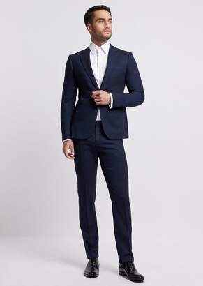 Emporio Armani Single-Breasted, Slim-Fit Suit In Cool Wool