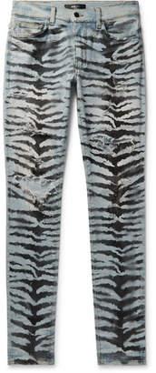 Amiri Skinny-Fit Distressed Printed Stretch-Denim Jeans