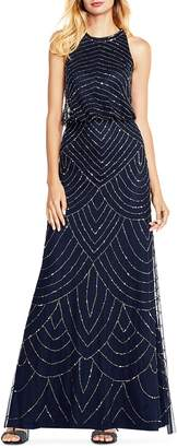 Adrianna Papell Sequined Blouson Gown
