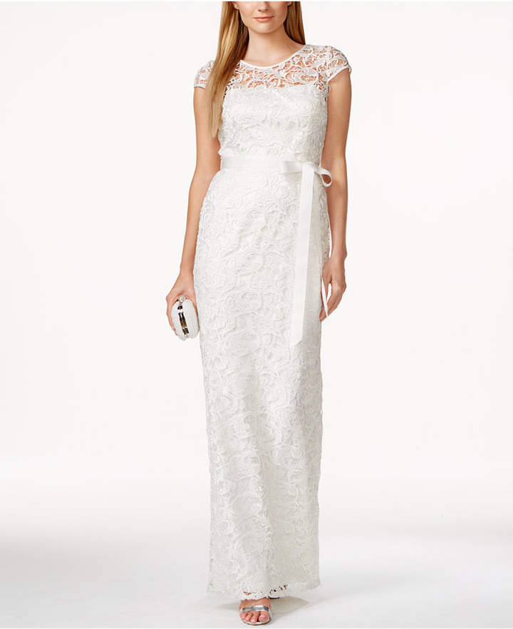 Adrianna Papell Adrianna Papell Cap-Sleeve Illusion Lace Gown