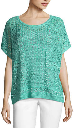 John Paul Richard JOHNPAULRICHARD Short Sleeve Crochet Knit Poncho