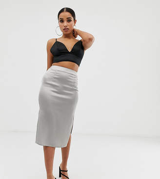 Missguided Petite satin split midi skirt in silver