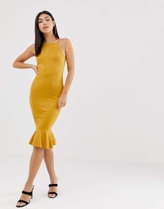 AX Paris square neck midi dress with frill hem
