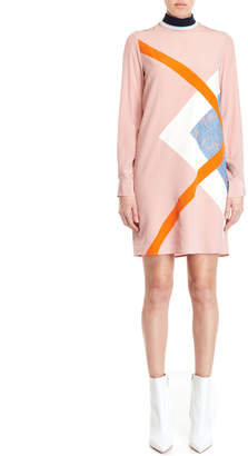 MSGM Silk Color Block Shift Dress