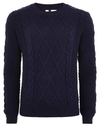 Topman Mens Navy Cable Knitted Sweater