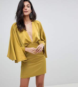 Asos Tall Design Tall Cape Kimono Sleeve Deep Plunge Mini Dress