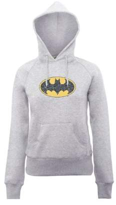 DC Comics Women's Official Batman Gloss Logo Long Sleeve Hoodie,(Manufacturer Size:X-Large)