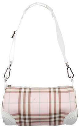 Burberry Leather-Trimmed Check Bag