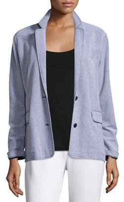 Joan Vass Two-Button Pique Boyfriend Jacket, Petite