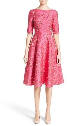 Women's Lela Rose Floral Fil Coupe Fit & Flare Dress $1,695 thestylecure.com