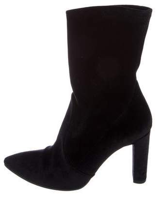 Stuart Weitzman Pointed-Toe Velvet Ankle Boots