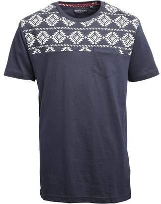 Brave Soul Junior Boys Davon Aztec Print T-Shirt Dark Navy/Ecru