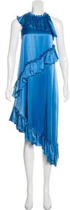 Thomas Wylde Ruffle-Trimmed Silk Dress