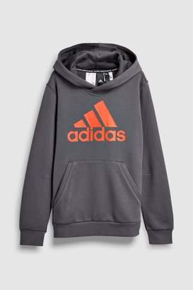 ec1c9562bacc Next Boys adidas Charcoal Chest Logo Overhead Hoody