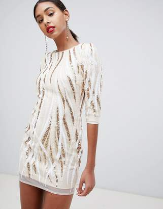 TFNC swirl patterned sequin bodycon mini dress in multi