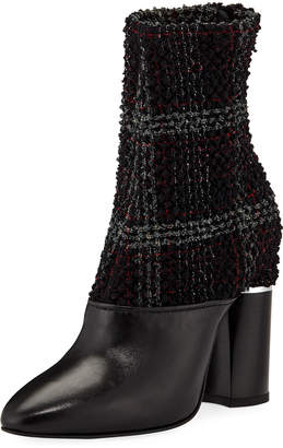 3.1 Phillip Lim Plaid Boucle Stretch 105mm Ankle Booties