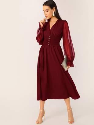 Shein Beaded Shirred Waist Sheer Lantern Sleeve Dress