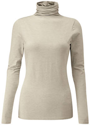 Pure Collection Roll Neck Top, Neutral Marl