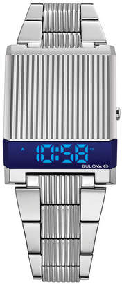 Bulova Limited Edition Men Digital Led Computron Stainless Steel Bracelet Watch 31.1x40.3mm