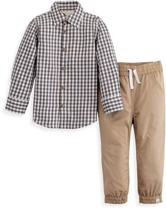 Burt's Bees Poplin Gingham Button Front Shirt & Poplin Jogger Pant Set