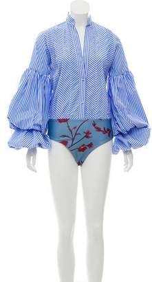 Johanna Ortiz Button-Up Stripe Bodysuit