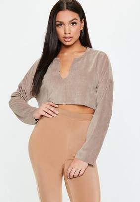 Missguided Petite Taupe Velour Notch Neck Sweater