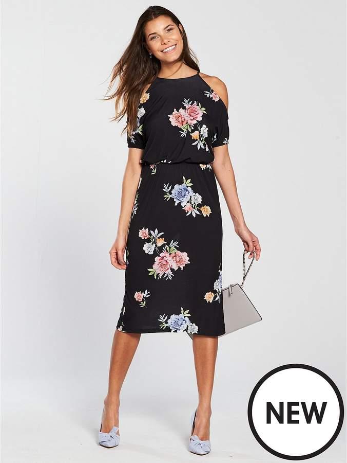 Cold Shoulder Tie Waist Jersey Midi Dress - Black