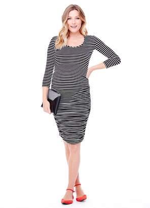 Ingrid & Isabel Women's Maternity Stripe 3/4 Sleeve Shirred Dress