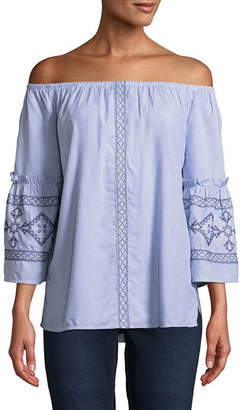 ST. JOHN'S BAY Embroidered 3/4 Bell Sleeve Floral Peasant Top