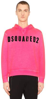 DSQUARED2 Logo Printed Cotton Sweatshirt Hoodie