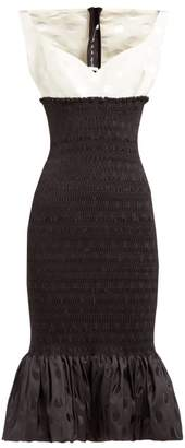 Emilio De La Morena Shirred Polka Dot Jacquard Midi Dress - Womens - Black White
