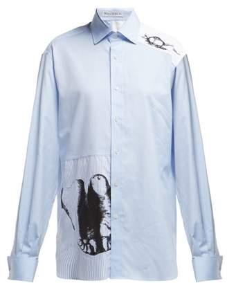 J.W.Anderson X Albrecht DArer Feet And Mouse Print Shirt - Womens - Light Blue