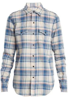 Saint Laurent Western Yoke Checked Shirt - Womens - Blue Multi
