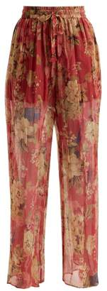 Zimmermann Melody Floral Print Silk Trousers - Womens - Burgundy