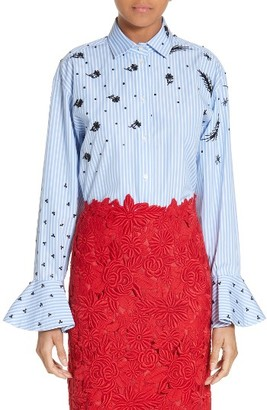 Women's Valentino Beaded Bell Sleeve Tunic $2,890 thestylecure.com