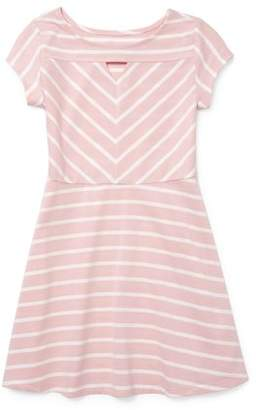 Children's Place The Keyhole Striped Short Sleeve Dress (Little Girls & Big Girls)