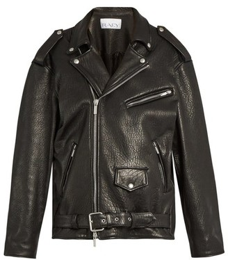 Raey Oversized Tumbled Leather Biker Jacket - Womens - Black