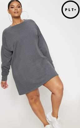 PrettyLittleThing Plus Burgundy Oversized Sweater Dress