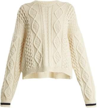 Saint Laurent Oversized Aran-knit wool sweater