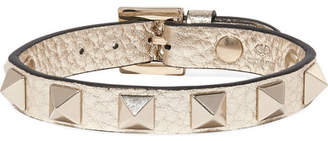 Valentino Garavani The Rockstud Metallic Textured-leather Bracelet - Gold