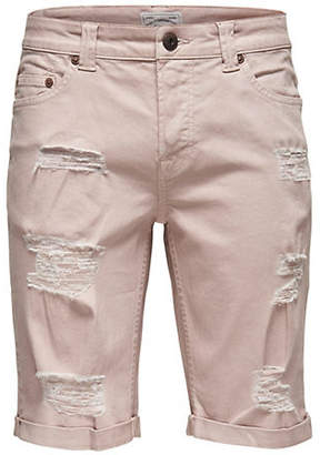 ONLY & SONS Ripped Twill Shorts