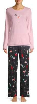 Hue Two-Piece Holiday Sparkler Pajama Set
