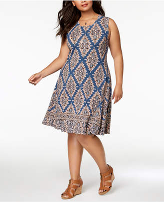 Style&Co. Style & Co Plus Size Mixed-Print Sleeveless Swing Dress, Created for Macy's