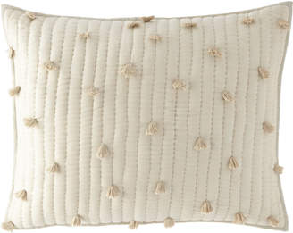 Pine Cone Hill Pompoms Moonstone Quilted Standard Sham